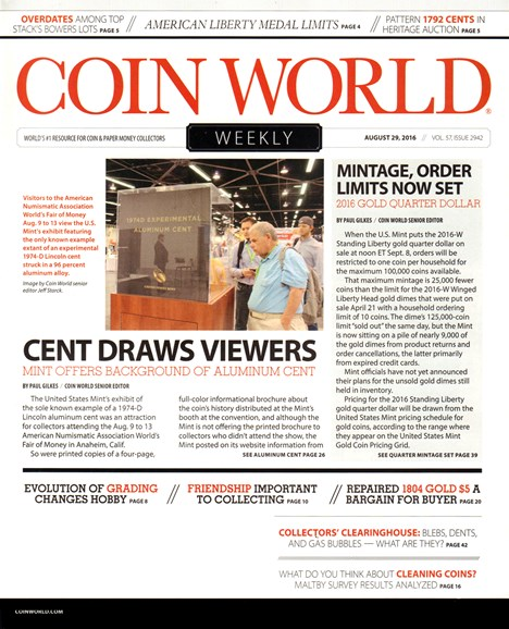 Coin World Weekly Cover - 8/29/2016