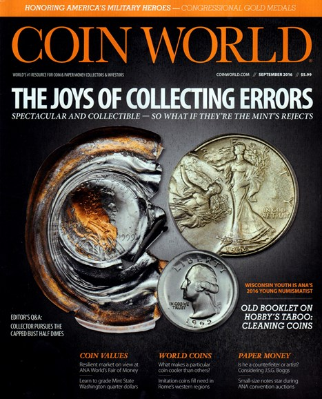 Coin World Weekly Cover - 9/1/2016