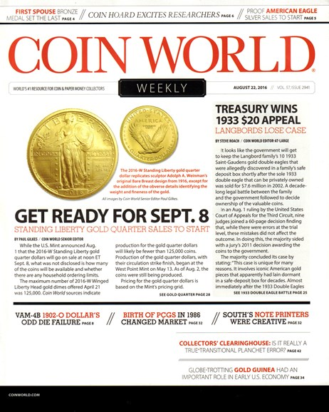 Coin World Weekly Cover - 8/22/2016
