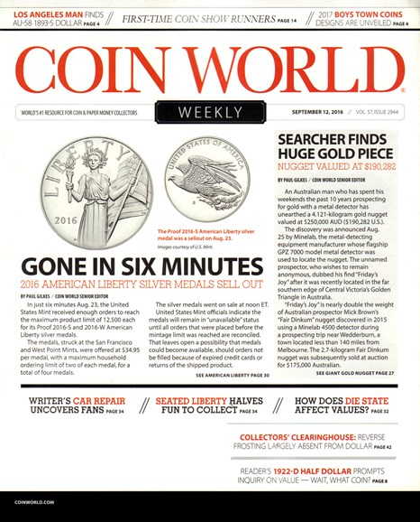 Coin World Weekly Cover - 9/12/2016