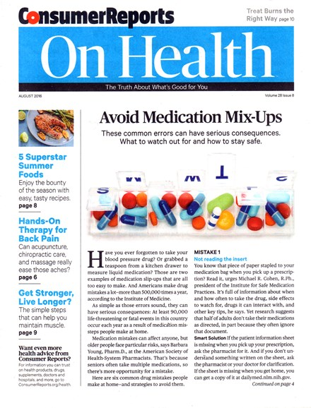 Consumer Reports On Health Cover - 8/1/2016