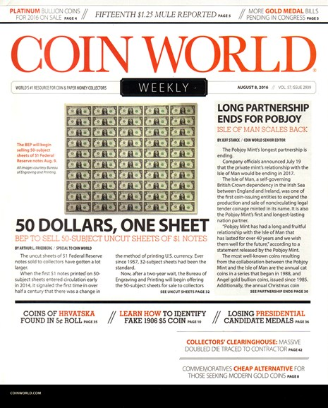 Coin World Weekly Cover - 8/8/2016