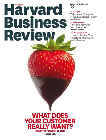Harvard Business Review Cover - 9/1/2016