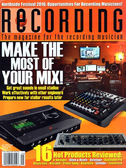 Recording Magazine Cover - 9/1/2016