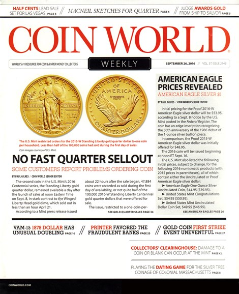 Coin World Weekly Cover - 10/26/2016
