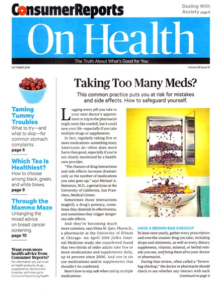 Consumer Reports On Health Cover - 10/1/2016