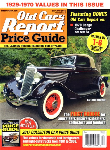 Old Cars Report Price Guide Cover - 9/1/2016