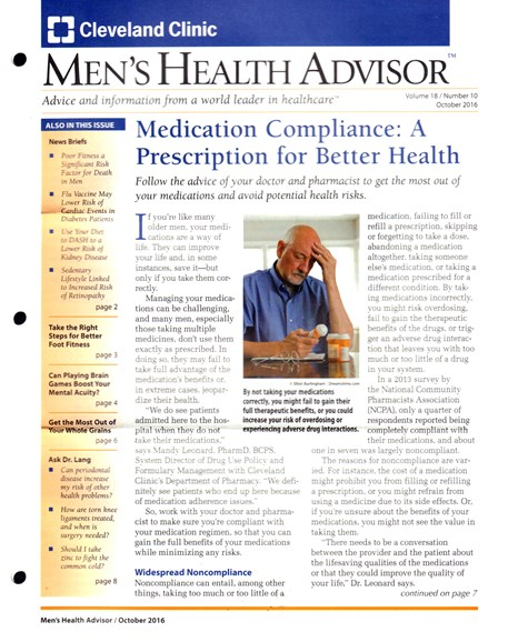 Men's Health Advisor Cover - 10/1/2016