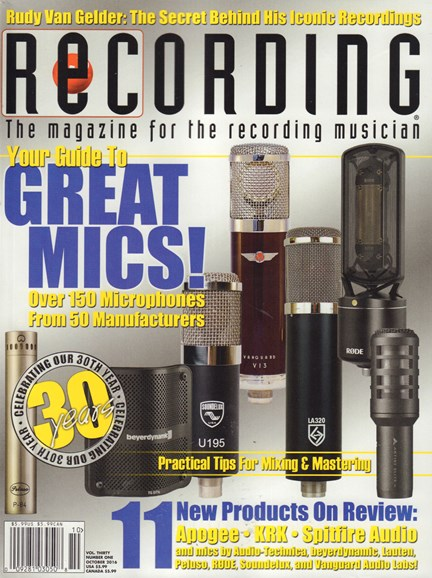 Recording Magazine Cover - 10/1/2016