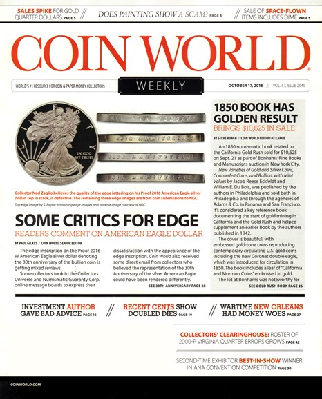 Coin World Weekly Cover - 10/17/2016
