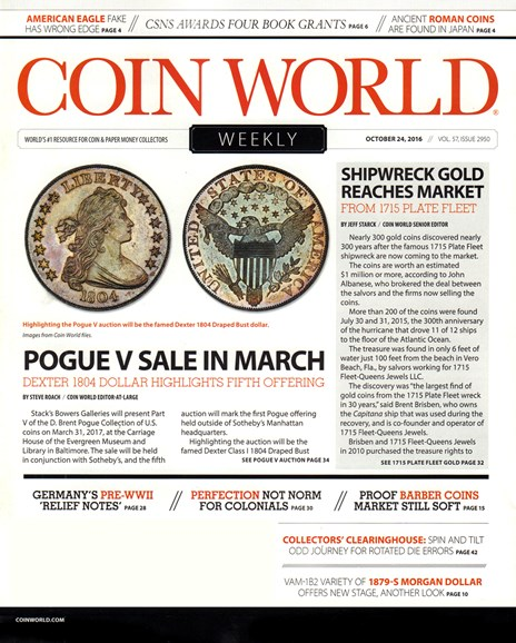 Coin World Weekly Cover - 10/24/2016