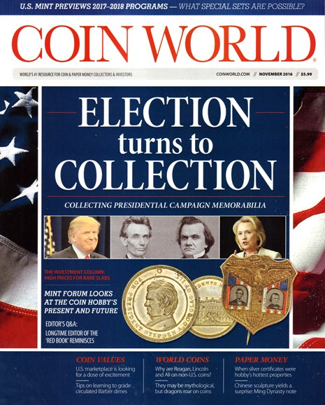 Coin World Monthly Cover - 11/1/2016