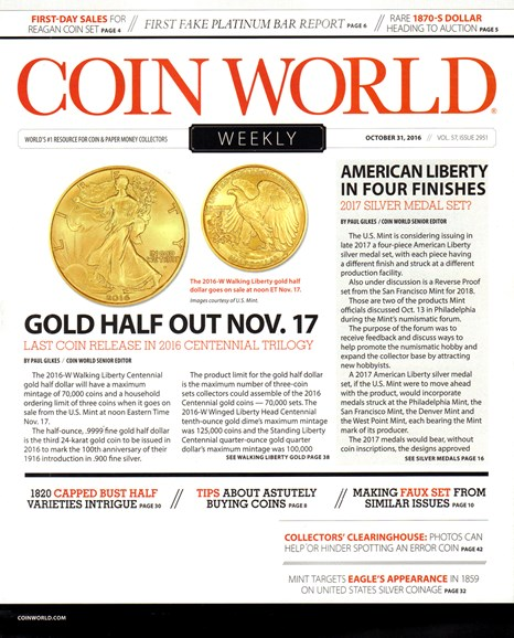 Coin World Weekly Cover - 10/31/2016