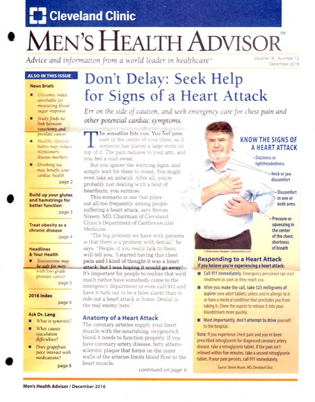 Men's Health Advisor Cover - 12/1/2016