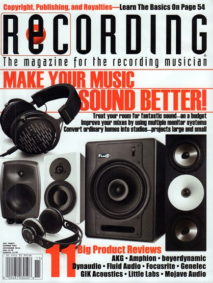 Recording Magazine Cover - 11/1/2016
