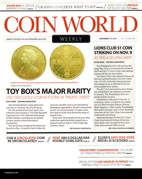 Coin World Weekly Cover - 11/14/2016