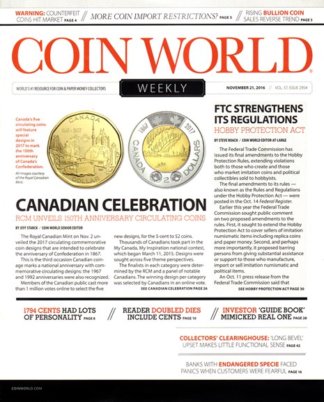 Coin World Weekly Cover - 11/21/2016