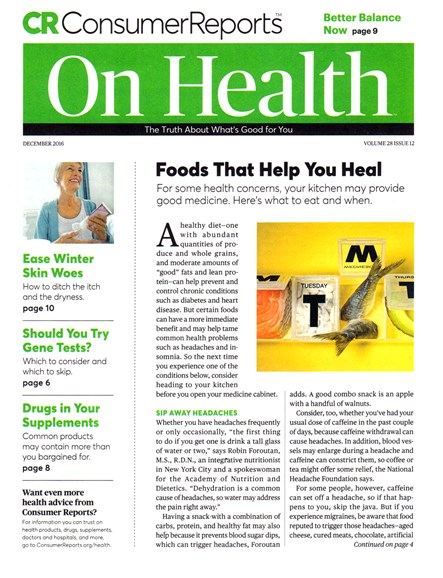 Consumer Reports On Health Cover - 12/1/2016