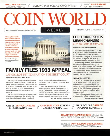 Coin World Weekly Cover - 11/28/2016