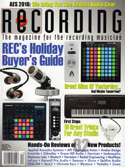 Recording Magazine Cover - 12/1/2016