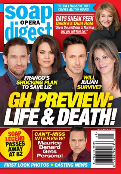 Soap Opera Digest Cover - 12/5/2016