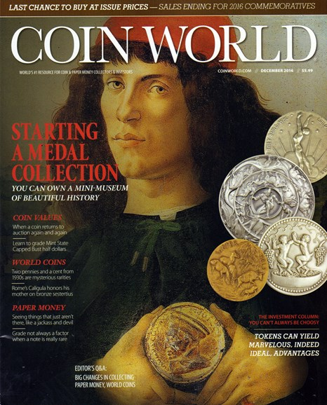 Coin World Monthly Cover - 12/1/2016