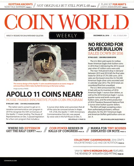 Coin World Weekly Cover - 12/26/2016