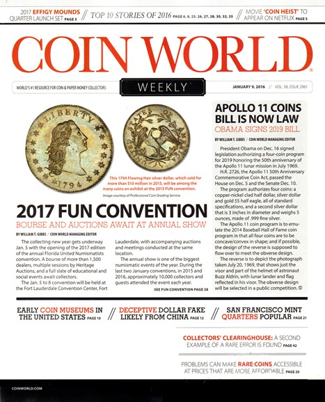 Coin World Weekly Cover - 1/9/2017