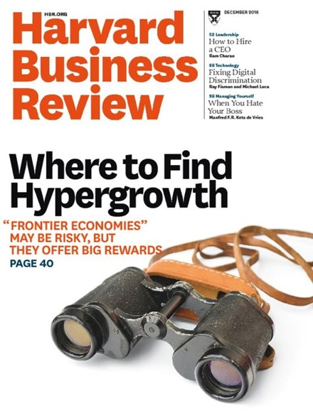 Harvard Business Review Cover - 12/1/2016