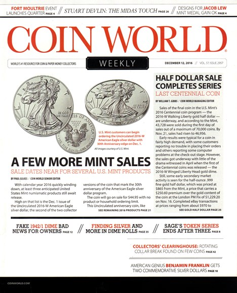 Coin World Weekly Cover - 12/12/2016