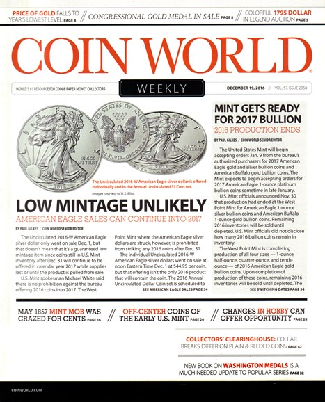 Coin World Weekly Cover - 12/19/2016