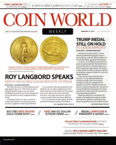 Coin World Weekly Cover - 2/13/2017