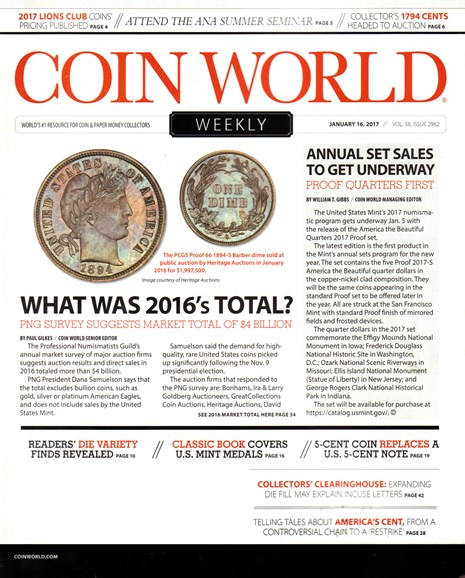 Coin World Weekly Cover - 1/16/2017
