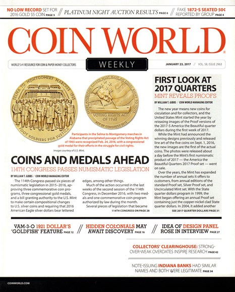 Coin World Weekly Cover - 1/23/2017