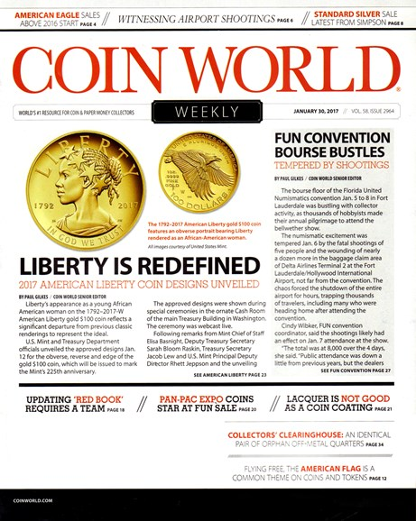 Coin World Weekly Cover - 1/30/2017