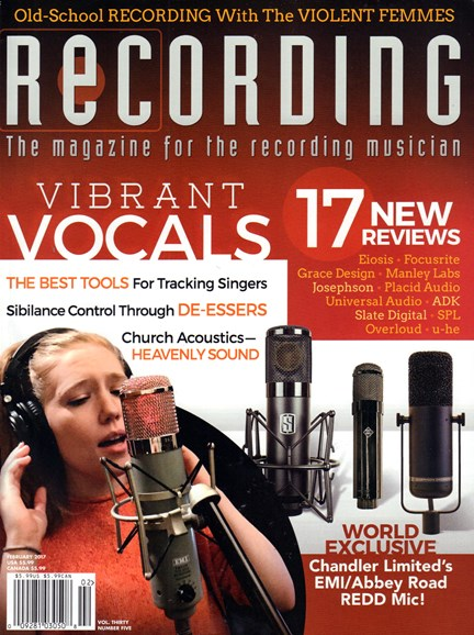 Recording Magazine Cover - 2/1/2017