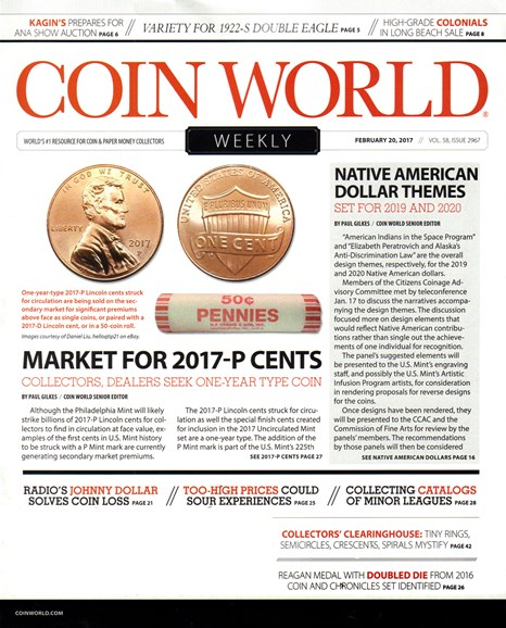 Coin World Weekly Cover - 2/20/2017