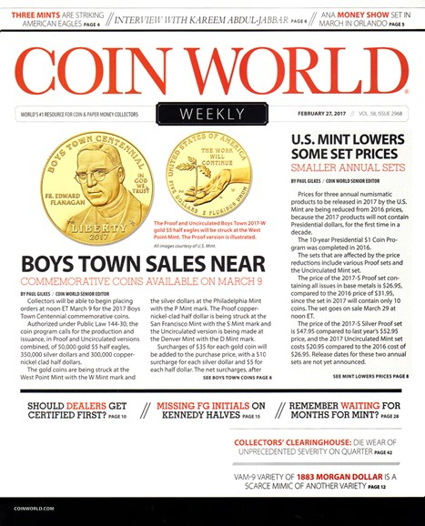 Coin World Weekly Cover - 2/27/2017
