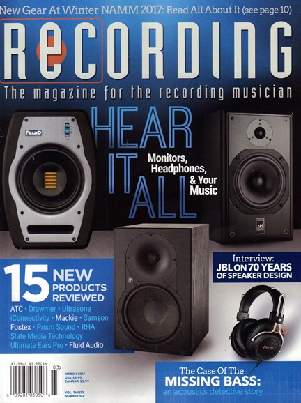 Recording Magazine Cover - 3/1/2017