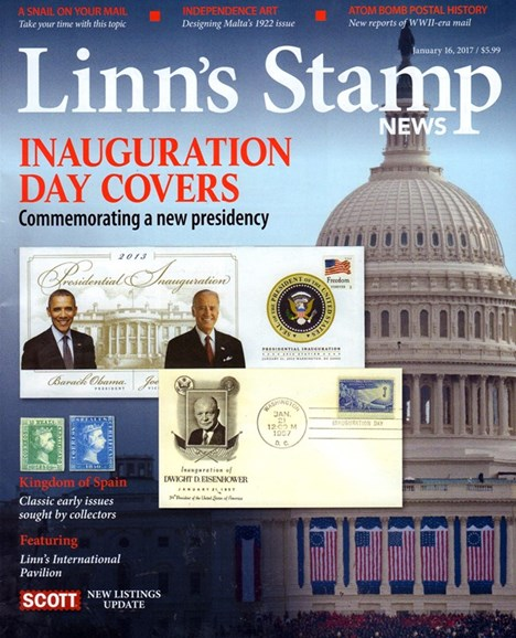 Linn's Stamp News Monthly Cover - 1/1/2017