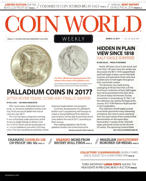 Coin World Weekly Cover - 3/13/2017