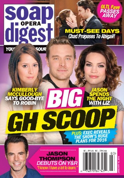 Soap Opera Digest Cover - 1/18/2016