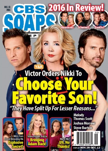 CBS Soaps In Depth Cover - 12/12/2016