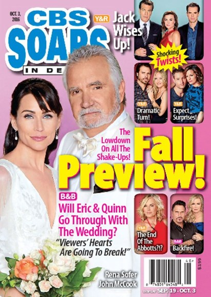 CBS Soaps In Depth Cover - 10/3/2016
