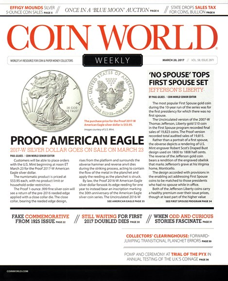 Coin World Weekly Cover - 3/20/2017
