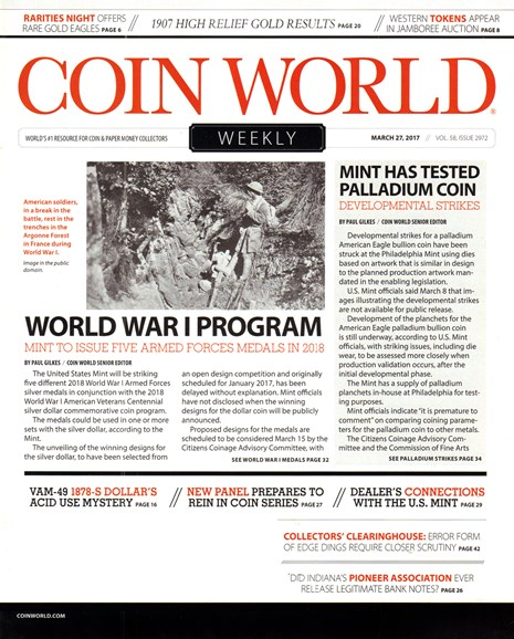 Coin World Weekly Cover - 3/27/2017