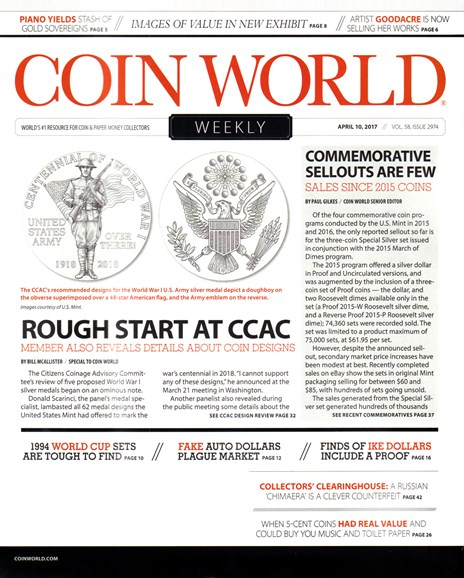 Coin World Weekly Cover - 4/10/2017