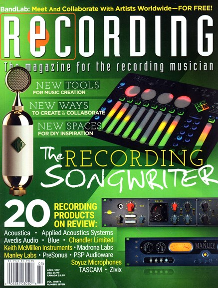 Recording Magazine Cover - 4/1/2017