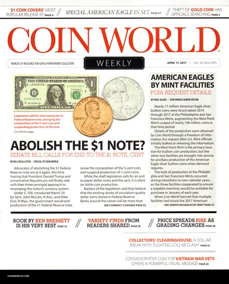 Coin World Weekly Cover - 4/17/2017