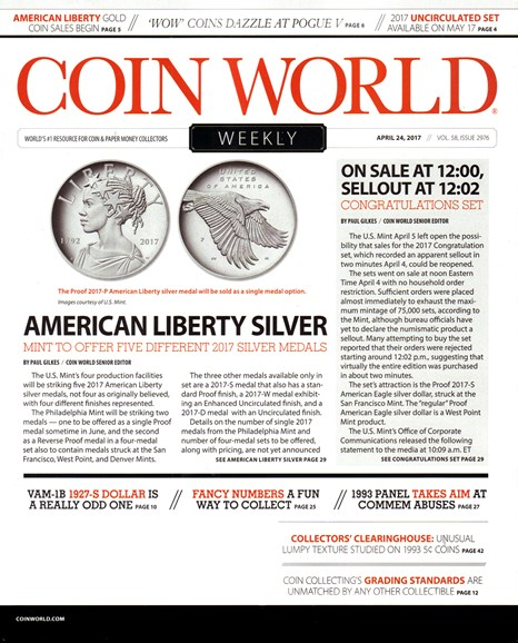 Coin World Weekly Cover - 4/24/2017